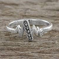 Marcasite cocktail ring, 'Modern Lightning' - Sterling Silver Faceted Marcasite Modern Lightning Ring