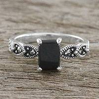 Onyx cocktail ring, 'Starry Midnight' - Sterling Silver Starry Midnight Black Onyx Cocktail Ring