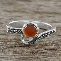 Onyx cocktail ring, 'Gala Orange' - Thai Sterling Silver Marcasite and Orange Onyx Dotted Ring
