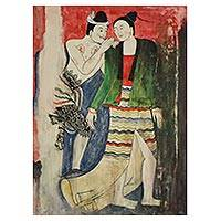 'Whisper' - Signed Folk Art Painting Inspired by Ancient Thai Art