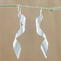 Silver dangle earrings, 'Air Stream' - Karen Hill Tribe Silver Curling Ribbon Dangle Earrings