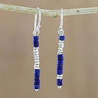 Lapis lazuli dangle earrings, 'Sky Stack' - Lapis Lazuli Karen Hill Tribe Silver Beaded Dangle Earrings