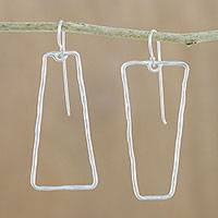 Silver dangle earrings, 'Trapezoid Trick' - Modern Karen Hill Tribe Silver Trapezoid Dangle Earrings