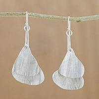 Silver dangle earrings, 'Gingko' - Karen Hill Tribe Silver Double Gingko Leaf Dangle Earrings