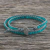 Quartz beaded wrap bracelet, 'Window Glass' - Aqua Blue Quartz and Karen Silver Beaded Wrap Bracelet
