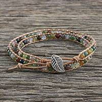 Agate and glass beaded wrap bracelet, 'Umber Dream' - Multi-Colored Agate and Glass Beaded Leaf Wrap Bracelet