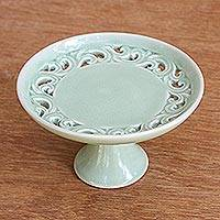 Small ceramic serving pedestal, 'Thai Celadon' - Small Celadon Ceramic Serving Pedestal Crafted in Thailand