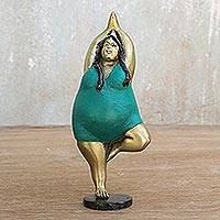 Brass statuette, 'Tree Pose' - Brass Tree Pose Yoga Statuette from Thailand