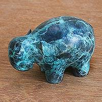 Brass figurine, 'Steadfast Elephant' - Blue Brass Elephant Figurine from Thailand