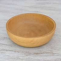 Wood bowl, 'Merry Cook' - Thai Handcrafted Raintree Wood Serving Bowl