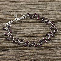 Garnet beaded link bracelet, 'Garnet Vine' - Garnet Beaded Link Bracelet from Thailand