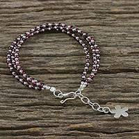 Garnet beaded multistrand bracelet, 'Natural Joy' - Karen Silver and Garnet Beaded Bracelet from Thailand