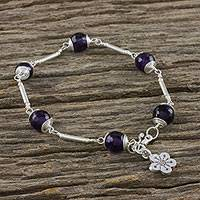 Amethyst link bracelet, 'Violet Daisy' - Amethyst Beaded Link Bracelet from Thailand