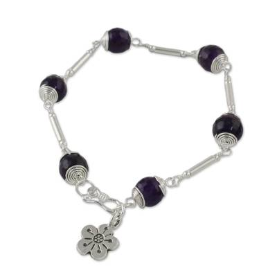Amethyst Beaded Link Bracelet from Thailand