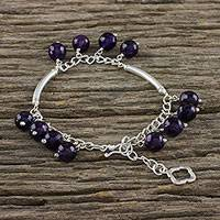 Amethyst charm bracelet, 'Purple Luxury' - Amethyst and Karen Silver Charm Bracelet from Thailand