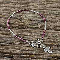 Garnet beaded bracelet, 'Karen Faith' - Garnet and Karen Silver Cross Bracelet from Thailand