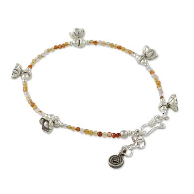 Carnelian Beaded Bracelet with Silver Flower Charms