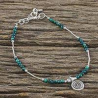 Quartz beaded bracelet, 'Peaceful Meditation' - Dyed Green Quartz Beaded Bracelet with Silver Pendant