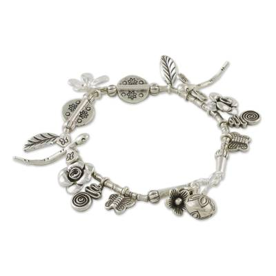 Handcrafted Karen Silver Charm Bracelet from Thailand