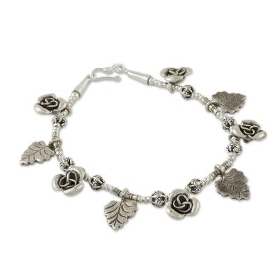 Karen Silver Charm Bracelet with Rose and Leaf Motifs