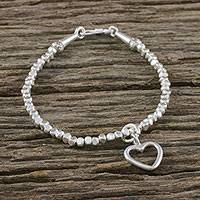 Silver beaded bracelet, 'Joyful Love' - Karen Silver Bracelet with Heart Charm from Thailand
