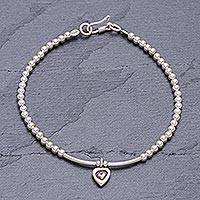 Silver beaded bracelet, 'Little Love' - Karen Silver Bracelet with Heart Charm from Thailand