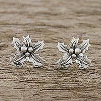 Sterling silver stud earrings, 'Poinsettia Beauty' - Handcrafted Sterling Silver Floral Stud Earrings
