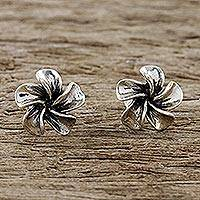 Sterling silver stud earrings, 'Ethereal Essence' - Handcrafted Sterling Silver Floral Stud Earrings