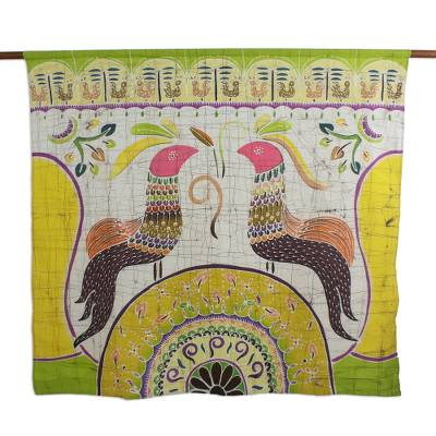 Cotton batik wall hanging, 'Amorous Chickens' - Cotton Batik Wall Hanging of Two Chickens from Thailand