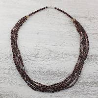 Garnet beaded necklace, 'Grape Festival' - Red Garnet and Glass Bead Grape Festival Beaded Necklace