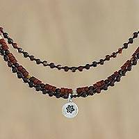Jasper and tiger's eye beaded pendant necklace, 'Earth Stone' - Jasper and Tiger's Eye Karen Silver Flower Pendant Necklace