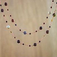 Jasper station necklaces, 'Copper Delicacy' (pair)