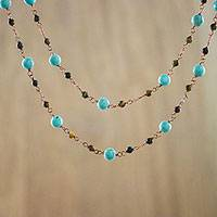 Tiger's eye and calcite long station necklace, 'Afternoon Air' - Calcite and Tiger's Eye Copper Very Long Station Necklace
