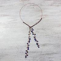 Lapis lazuli lariat necklace, 'Lovely Night' - Handcrafted Lapis Lazuli Bead and Copper Lariat Necklace