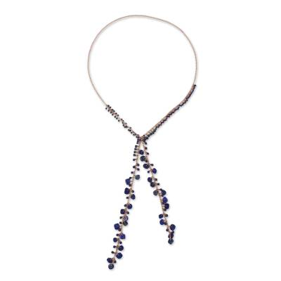 Handcrafted Lapis Lazuli Bead and Copper Lariat Necklace