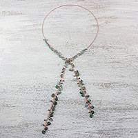 Multi-gemstone lariat necklace, 'Lovely Ocean' - Handcrafted Multi-Gemstone Bead and Copper Wrap Necklace