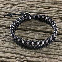 Jasper wrap bracelet, 'Storm Clouds' - Jasper and Black Leather Wrap Bracelet Silver Button Clasp