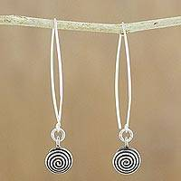 Silver dangle earrings, 'Karen Trance' - Karen Silver Spiral Motif Dangle Earrings from Thailand