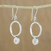 Silver dangle earrings, 'Karen Coils' - Spiral Karen Silver Dangle Earrings from Thailand