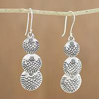 Silver dangle earrings, 'Karen Scales' - Karen Silver Dangle Earrings with Scale Motifs