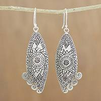 Silver dangle earrings, 'Exotic Sun' - Handcrafted Karen Silver Dangle Earrings from Thailand