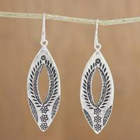 Silver dangle earrings, 'Karen Portals' - Karen Silver Dangle Earrings with Floral Stamps