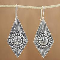 Silver dangle earrings, 'Sunshine Diamonds' - Karen Silver Dangle Earrings with Spiral Motifs