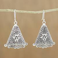 Silver dangle earrings, 'Karen Wanderer' - Triangular Karen Silver Dangle Earrings from Thailand