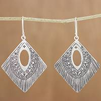 Silver dangle earrings, 'Karen Symbols' - Diamond-Shaped Silver Dangle Earrings from Thailand