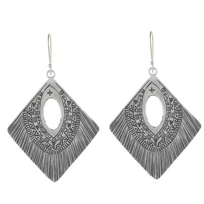 Diamond-Shaped Silver Dangle Earrings from Thailand