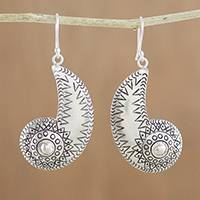 Silver dangle earrings, 'Karen Nautilus' - Spiraling Karen Silver Dangle Earrings from Thailand