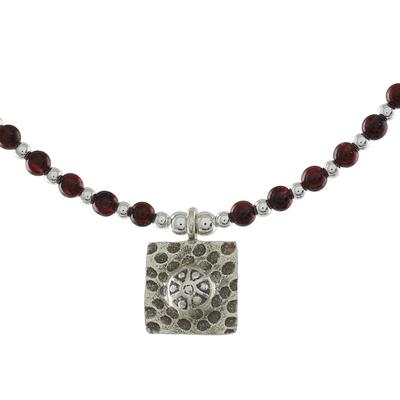 Garnet beaded pendant necklace, 'Auburn Karen' - Garnet Beaded Pendant Necklace from Thailand