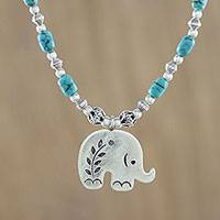 Silver beaded pendant necklace, 'Cool Elephant'