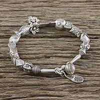 Silver beaded bracelet, 'Love for Earth' - Handcrafted Karen Silver Beaded Bracelet from Thailand